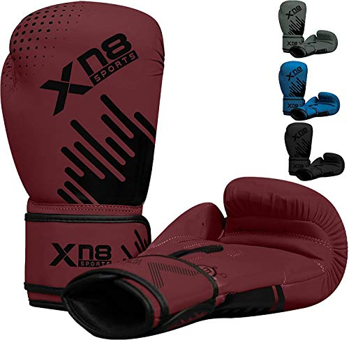 XN8 Boxing Gloves Training Muay Thai for Sparring-Kickboxing-MMA-Fighting-Punching Bag Mitts (Ruby Wine, 16oz)