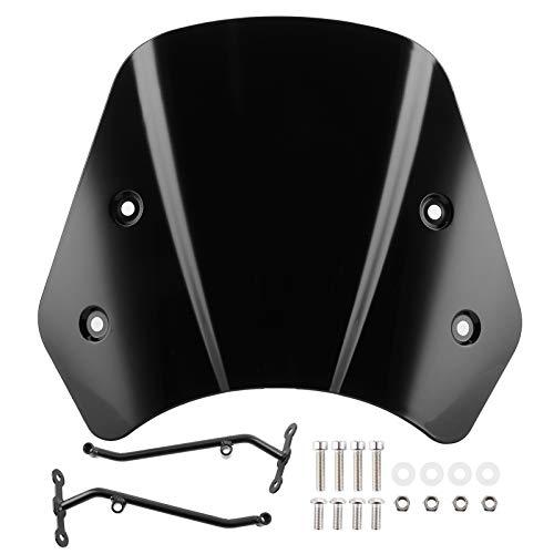 Parabrisas de motocicleta Aramox, deflector de viento de parabrisas con stents largos de motocicleta apto para Benelli Leoncino 500(Negro)