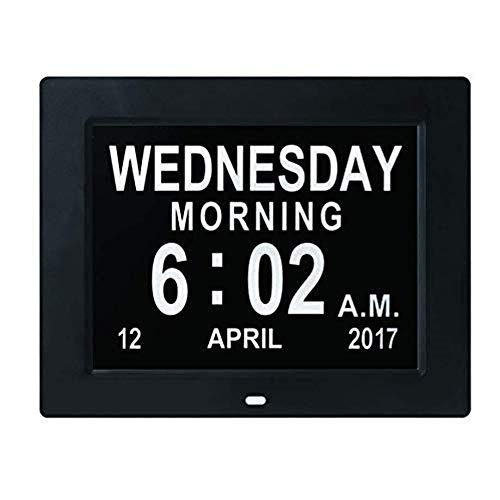 NBLYW 8 Inch Grote Verminderde Visie Digitale Klok met Digitale fotolijst, Niet-Afkorting Dag en Maand voor Senioren Visueel Verminderde Blinds Oudere, Wit