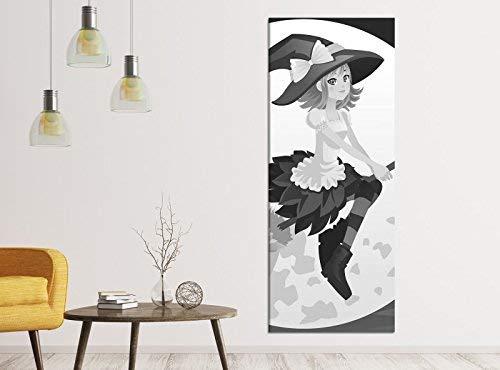 Canvas foto's 1dlg 40x100cm zwart wit kinderkamer cartoon heks bezem vleermuis maan keuken canvas afbeelding kunstdruk muur afbeeldingen vlies muurschildering canvas foto druk 9ZB724 40cmx100cm