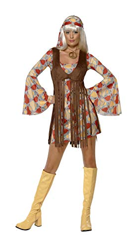 jaren 60 chique schatje met jurk en vest met franjes, Large Large bruin