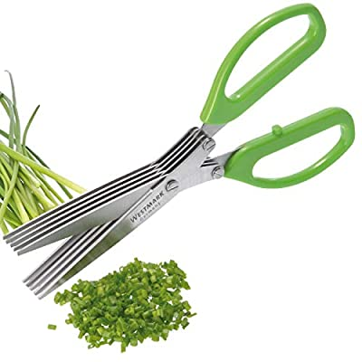Westmark Germany Stainless Steel 5-Blade Herb Scissors with Cleaning Comb (Green) from Westmark