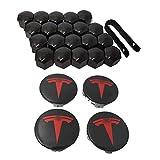 Betrothales Tapacubos - Tapacubos Para Tesla Modelo 3 X S Tapacubos De 4 Piezas Y Cubiertas De Tuerca Para Coche De 20 Piezas Venta Cosas Geniales (Color : Schwarz Rot-Size)