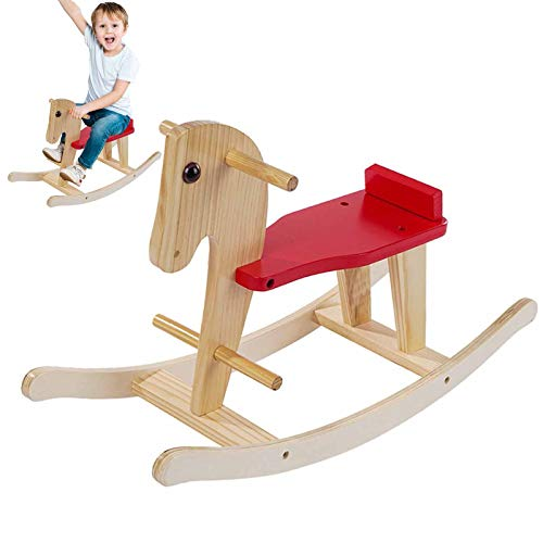 ETHY Rocking Horse for Baby Wood Ride On Toys for 1-3 Year Old,Toddlers Ride Animal Indoor Outdoor, Boys Girls Rocking Animal Infant Ride Toy, Christmas Birthday Gift for Children