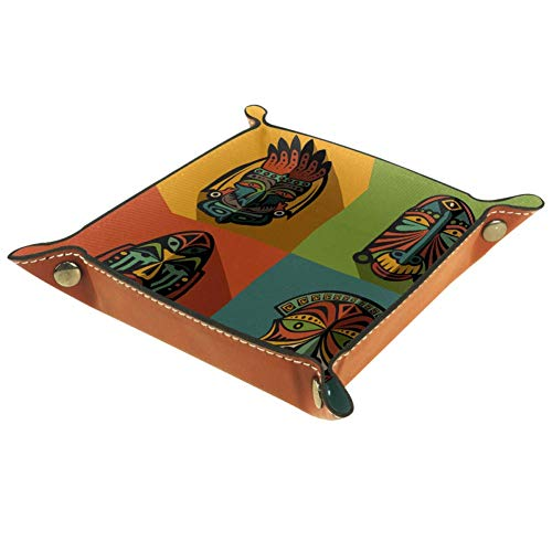 Bennigiry Afrikanische Ethnische Tribal Masken Leder-Tablett Organizer für Geldbörse, Uhren, Schlüssel, Münzen, Handys und Bürogeräte, Multi, 20.5x20.5cm