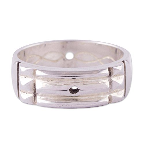 NOVICA .925 Sterling Silver Geometric Band Ring, Atlantis Power'
