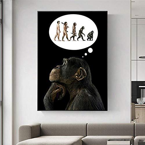 fdgdfgd Pensando Gorila evolución Humana decoración del hogar Cartel de Arte de Pared Divertido Mono Sala de Estar Pintura en Lienzo