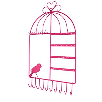 LoveinDIY New Metal Birdcage Jewelry Holder Earring Display Hanger Necklace Organizer Hook - Pink