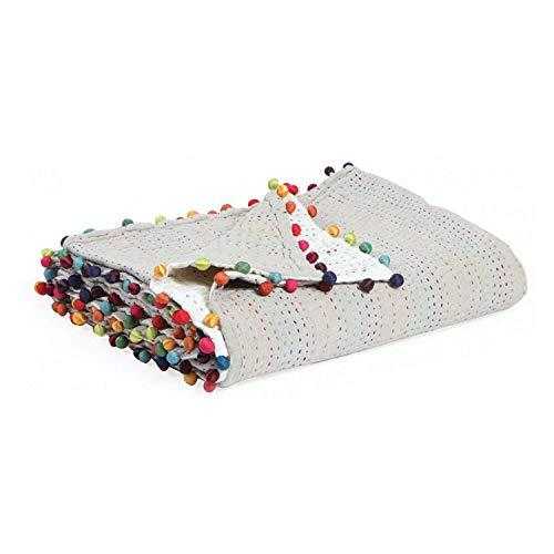 Vivaraise - Courtepointe - Couverture matelassé - Couverture épaisse - 180 x 180-100% Coton Pompons 100% Polyester