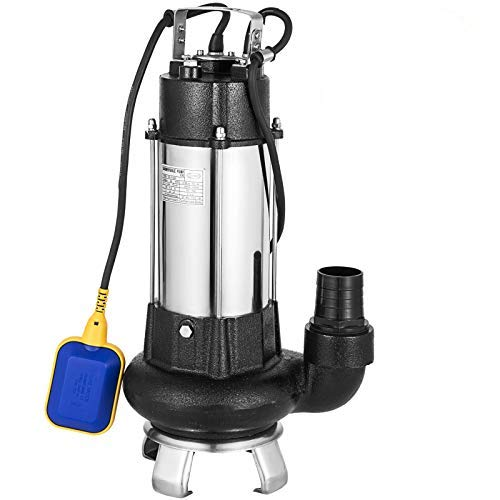 Happybuy Sewage Pump 1.5 HP Submersible Sump Pump 6340 GPH Ejector Pump 92ft Lift Stainless Steel Heavy Duty with 32.8ft Cable and Piggy Back Float Switch