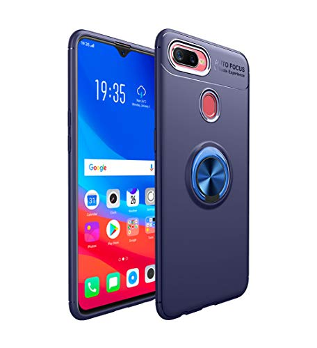 HERCN Oppo F9,Oppo F9 Pro 6.30 Case,Ultra Slim Silicone TPU Protection Case with Metal Ring Grip Holder Support Magnetic Car Mount Function for Oppo F9,Oppo F9 Pro Smartphone (Blue)