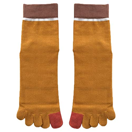 GDSMTG Desodorante Deportes Calcetines de Cinco Dedos de Color Amarillo de Cintura Alta Costura Dedo del pie de los Calcetines de los Hombres de Sudor Absorbente y de Mecha (Color : Yellow)