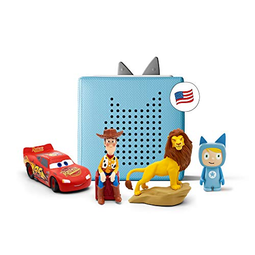 toniebox Light Blue Starter Set Bundle - Includes Creative Tonie, Woody from Toy Story, Simba from Disney's The Lion King, and Lightning McQueen from Disney Pixar's Cars tonies - Ages 3 and Up