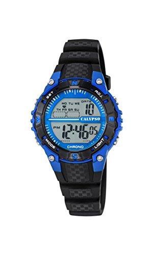 Calypso-Reloj Digital Unisex con LCD Pantalla Digital Dial y Correa de plástico en Color Negro K5684/5
