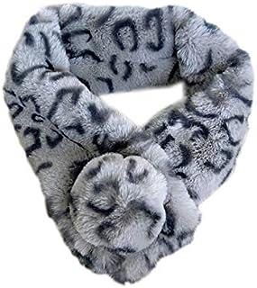 DKSFLADI womens winter warm plush faux fur scarfs leopard printed sin cute ball collar shawl thickened fur women crumple shawl faux fur scarf leopard lattice tippet shrug