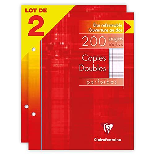 Clairefontaine 14411AMZC Lot de 2 Étuis de Copies Doubles Perforées - 17x22 cm - 200 Pages Grands Carreaux - Papier Blanc 90 g - Étui Réutilisable