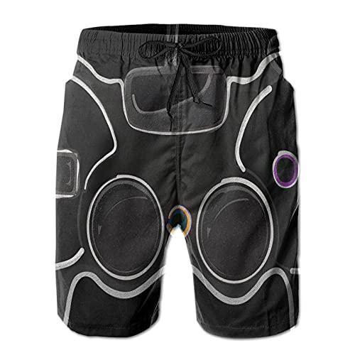 Teen Black Video Game Controller Gamer Pantalones Cortos para Hombre Bañador de Secado rápido con Forro de Malla, Talla XXL