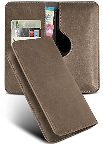 moex Excellence Line Handytasche kompatibel mit Wiko Lenny 5 | Hülle Gold Oliv - Mit Kartenfach und Geld + Handy Fach, Klapphülle, Flip-Hülle Tasche, Klappbar