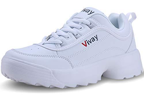 Vivay Damen Sportschuhe Laufschuhe Turnschuhe Sneakers Leichte Schuhe(41,Weiß)