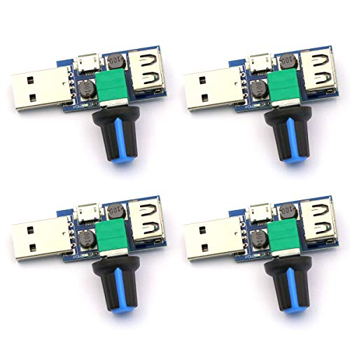 CenryKay DC 5V USB Fan Stepless Speed Controller Regulator Input DC4-12V to 2.5-8V and Speed Control Knob with Switch Function(4PCS)