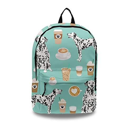 Dalmatians Cute Mint Coffee Best Dalmatian Dog Business School Lightweight Leather Backpack, Durable and Waterproof Laptop/Book/Diaper 图 Daypack with Smooth Zip and Anti-Theft Pockets for Travel
