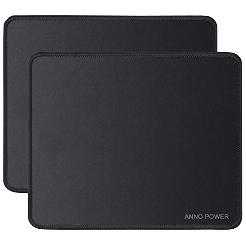 Anno Power 2pack Mouse Pad with Stitched Edge, Premium-Textured Mouse Mat, Non-Slip Rubber Base Mousepad for Laptop, Computer & PC, 11×7.8×0.12 inches, Black