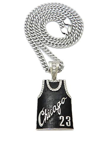 #23 Chicago Jersey Pendant 6mm/20,24',30' Cuban Chain Hip Hop Necklace RC3806 (6mm/30 Cuban Chain)