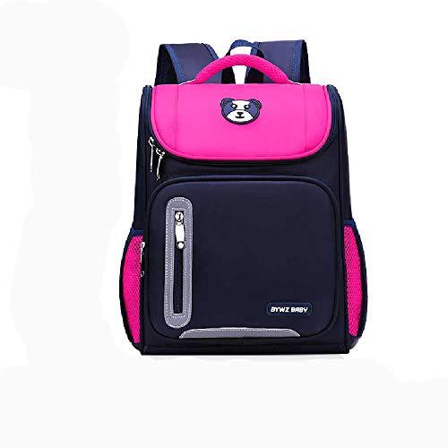 BOLONG Children's Boys and Girls School Backpack 38 * 15 * 29Cm Elementary School Bag, Cartoon Cute School Bag Rose red