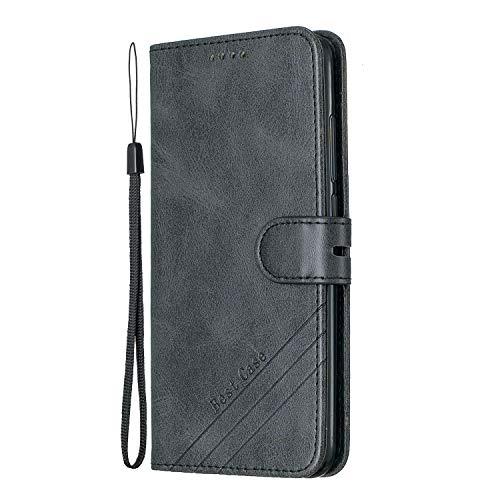Lomogo Xiaomi Redmi Note 6 Pro/Note 6 Hülle Leder, Schutzhülle Brieftasche mit Kartenfach Klappbar Magnetisch Stoßfest Handyhülle Case für Xiaomi Redmi Note 6 Pro - LOHEX120562 Schwarz