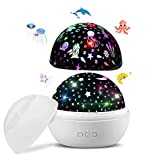 Lámpara Proyector Estrellas, 360° Rotación Lampara led y Control Remoto, 8 Modos Romántica Luz de la Noche, Perfecto Regalo para Bebés[Clase de Eficiencia Energética A]