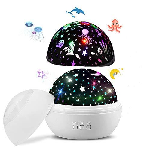 LED Sternenprojektor Lampe,Nachtlicht Baby 360 Grad Rotierenden Projektionslampe mit Sternenhimmel Ozean Lichtprojektion Farben ändern Warme Nachtlicht für Kinder,Geburtstage Party Gift Weihnachten