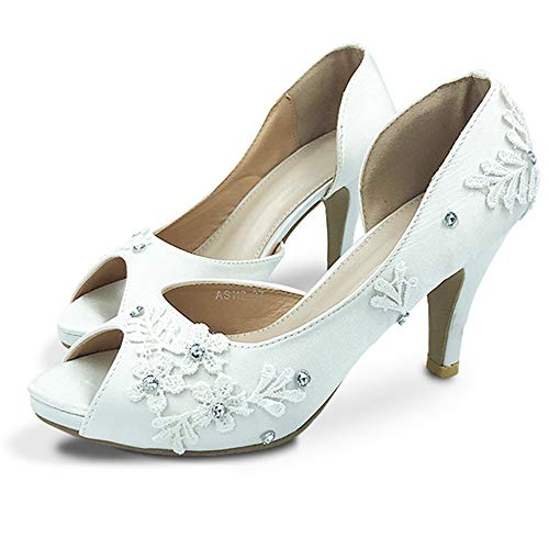 8cm witte kanten hakken bruidsschoenen bruid sexy satijn diamant kant bloem open kant zomer bruids schoenen