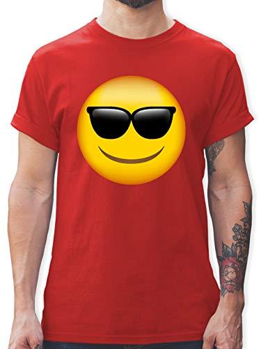 Comic Shirts - Emoticon Sonnenbrille - XXL - Rot - lustige t-Shirt Herren - L190 - Tshirt Herren und Männer T-Shirts
