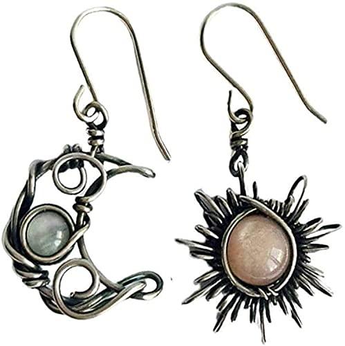 Antiqued Silver Sun and Moon Drop Earrings, Crystal Moon Star Dangle Hoop Earrings, Bohemian Sun Moon Earrings, Retro Punk Jewelry for Women Girls