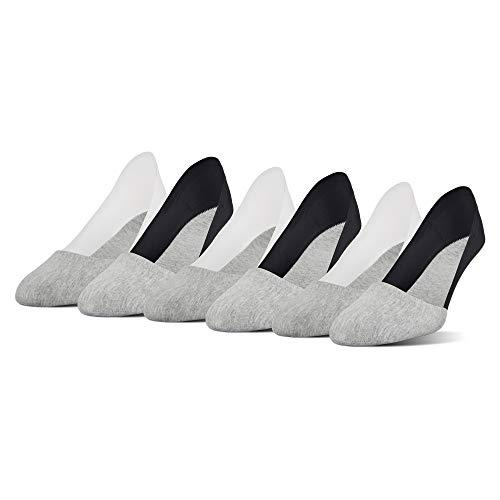 PEDS Women's Lasertrim Unseen Mid Cut Socks, 6 Pairs, Heather Gray/Black, Heather Gray/White, Shoe Size: 5-10