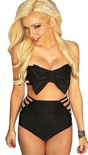 Lucky Girl Sexy Summertime Bikini Series Black Ribbon #40 (M, Black)