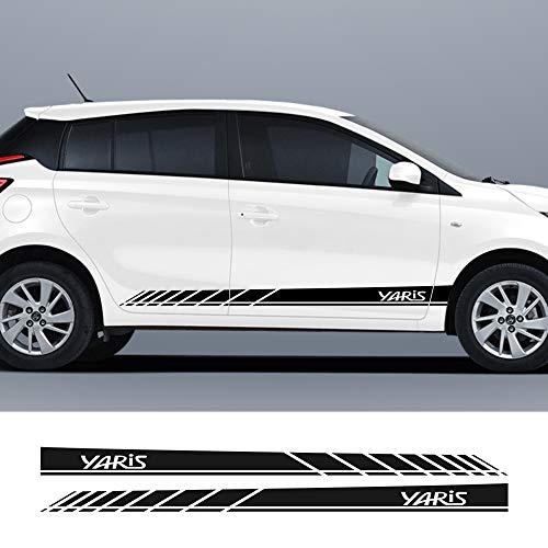 JIERS Für Toyota Yaris, Racing Stripes Autotür Seitenrock DIY Aufkleber Sport Styling Auto Body Decals Autozubehör Autoaufkleber