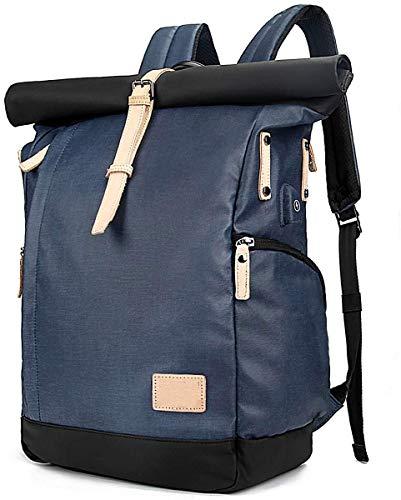 VORRINC Laptop Rucksack Damen Herren, Roll-Top Rucksack 15,6 Zoll mit USB,Wasserdicht Diebstahlsicherung Tagesrucksack Schulrucksack College-Rucksack Backpack (Blau)