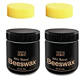 Natural Beeswax Wood Seasoning, Furniture and Wood Floor Polish, Wood Wax Cleaner and The Best Beeswax Furniture Polish Restorer, Ultimate Solution for Wood Cleaning, 2 x Beeswax, 2 x Sponges