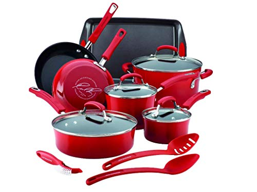 Rachael Ray Cityscapes Porcelain Enamel Aluminum Nonstick 14pc Cookware Set, Cherry Red (16899)