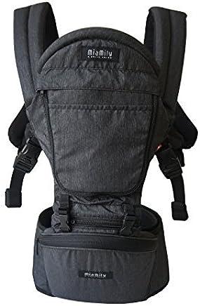 MiaMily Hipster Plus marca suiza - Aprobado por las normas de seguridad de todo el mundo - Portabebés y niños - Protección para el bebé y 9 usos diferentes - Se adapta a todos los tamaños - Color, Carbón Gris