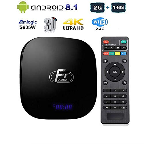 LOISK Android TV Box, A95X F1 Intelligente Android 8.1 Box Amlogic S905W Vierkern Cortex-A53 CPU 2GB RAM 16GB ROM unterstützt 2.4 GHz WiFi 3D 4K HDMI 2.0 100M LAN Ethernet