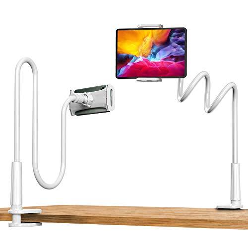【2020最新】スマホ スタンド Sross タブレット スタンド 両用 iPad スタンド クランプ式 360°回転 自由調能 土台強化 安定性抜群 寝ながら アームスタンド フレキシブルアーム付き 兼用3.5〜10.5インチ(iPhone/iPad Pro/iPad mini/Huawei/Xperia/Galaxy/Sony/Kindle/AQUOS等多機種)1年間保障 ホワイト