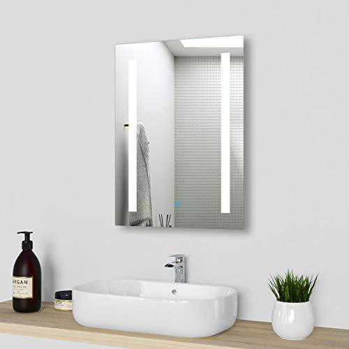 Xinyang LED Badspiegel mit Beleuchtung 45x60 cm, badezimmerspiegel mit Beleuchtung kaltweiß, Lichtspiegel Wandspiegel,IP44 Energiesparend