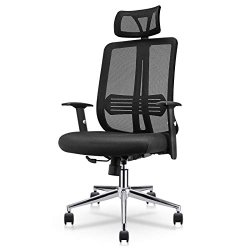 East Oak Office Chair Ergonomic Desk Chair Mesh Computer Chair with Lumbar Support Adjustable Headrest Task Chair Comfortable High Back Swivel Executive Chair for Home
