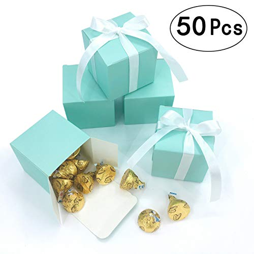 Small Cube Turquoise Candy Treat Boxes Bulk Teal Blue Gift Boxes Wedding Favors Baby Bridal Shower Birthday Party Boxes Supplies, 50pc (Aqua Blue)