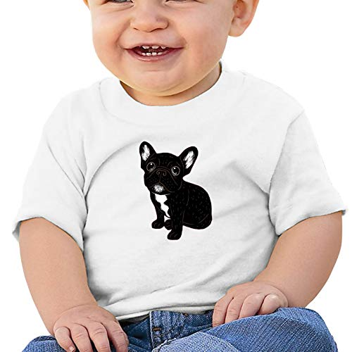 WAYMAY Cute Brindle Frenchie Puppy Baby Short-Sleeved 100% Cotton T-Shirt Toddler Round Neck Shirt White