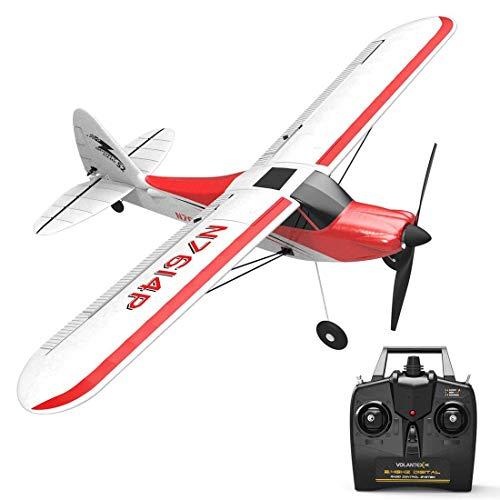 Lommer RC Flugzeug RTF 4 Kanal, VOLANTEXRC Sport Cub Segelflugzeug Ferngesteuert 500mm Spannweite 2.4G RC Starrflügler mit Xpilot Gyro System für Anfänger Kinder Jungen Erwachsene