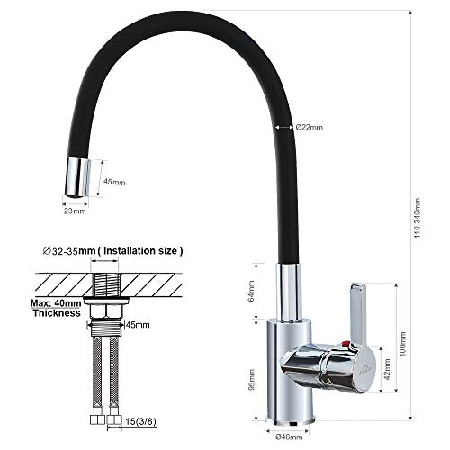 Auralum – Design-Küchenarmatur mit flexiblem Brausehals, Schwarz - 9