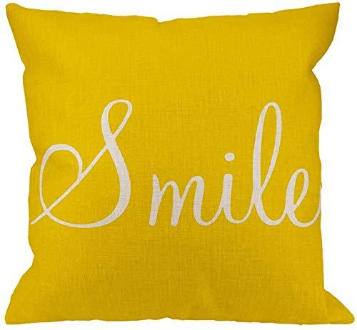 Smile Sunshine Federa in cotone Lino Smile Sunshine Fodera per cuscino quadrato giallo Federa standard per uomo Donna Decorativa per la casa Divano Poltrona Camera da letto Soggiorno 18 x 18 pollici
